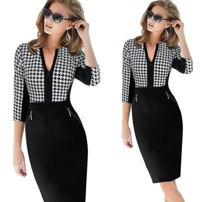 Kenancy  Elegant Patchwork Half Sleeve Stretch Dress Tunic Business Casual Office Work Dress Slim Bodycon Sheath  Pencil DressesBodycon Dresses<br>Kenancy  Elegant Patchwork Half Sleeve Stretch Dress Tunic Business Casual Office Work Dress Slim Bodycon Sheath  Pencil Dresses<br>