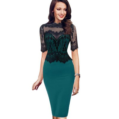 Kenancy Womens Elegant Vintage Retro Floral Lace Peplum See Through Mesh Patchwork Party Club Bodycon Fitted DressBodycon Dresses<br>Kenancy Womens Elegant Vintage Retro Floral Lace Peplum See Through Mesh Patchwork Party Club Bodycon Fitted Dress<br>