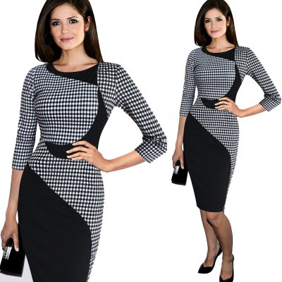 Kenancy New Arrivals Ladies  Color block  Dresses Plaid Three Quarter Sleeve Fitted Women Casual Work Office Business Party Sheath Bodycon Pencil DressBodycon Dresses<br>Kenancy New Arrivals Ladies  Color block  Dresses Plaid Three Quarter Sleeve Fitted Women Casual Work Office Business Party Sheath Bodycon Pencil Dress<br>