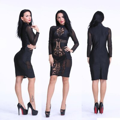 2016 new arrival sexy high collar hollow out lace-stitching woman closed-fitting dress