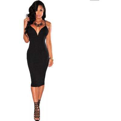 2016 summer autumn new style fashion sexy deep-V-neck  backless woman closed-fitting braces dress