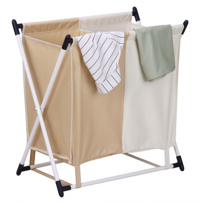 (LAUNDRY HAMPER) Finether Folding X-Frame Laundry Sorter Hamper Stand with 2-Compartment Detachable Bag for Clothes Storage and Organization, Beige and Khaki