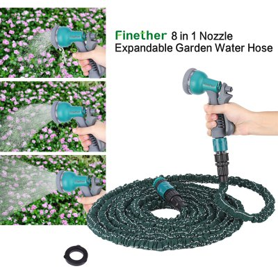 Finether 75 FT 8 in 1 Nozzle Expandable Flexible Garden Water Hose Latex Pipe
