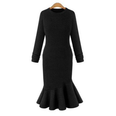 Elegant Sweater Dress 2016 Fall New Arrival  Womens Sexy Dress Long Sleeve Thicken Party Slim Fit Package Hip Knitted Fishtail Sweaters Dresses For Ladies