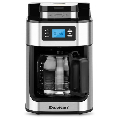 Excelvan 1050W, 1.25L 10-Cup Automatic Programmable Coffee maker, Built-in Grind-and-Brew Includes Permanent Reusable S/S Filter- Silver and Black
