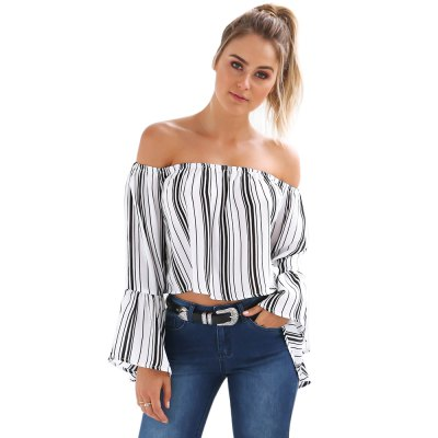 Casual Tops Sexy Women Off Shoulder  Slash Neck Long  Trumpet Sleeve Blouse Women Party Daily Wear Midriff Simple TopsTees<br>Casual Tops Sexy Women Off Shoulder  Slash Neck Long  Trumpet Sleeve Blouse Women Party Daily Wear Midriff Simple Tops<br>