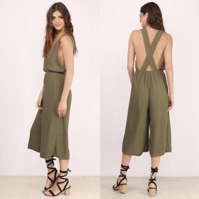 2016 new arrival summer sexy backless and deep v design woman fashion wide-legged casual style jumpsuitsJumpsuits &amp; Rompers<br>2016 new arrival summer sexy backless and deep v design woman fashion wide-legged casual style jumpsuits<br>