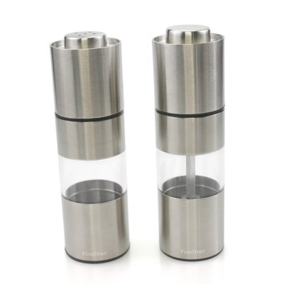 Finether OTSYMP - 002 2pc 304 Stainless Steel Salt Shaker Pepper Mill Set with Acrylic Bottle and Adjustable Coarseness