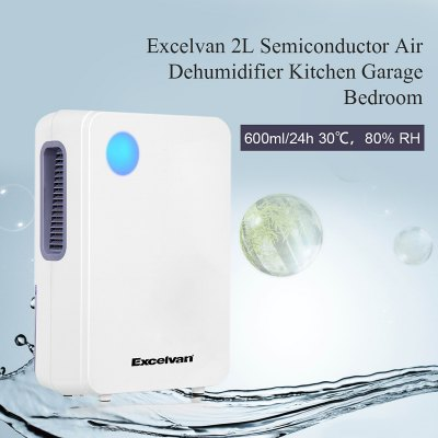 Excelvan 2L Portable Semiconductor Air Dehumidifier Ultra-low Noise Environment-friendly Air Purify Closet Kitchen Cars