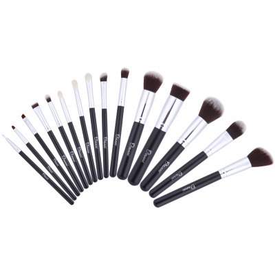 Ovonni MT033 Professional 15-in-1 Superior Cosmetic Makeup Tools Kit Brush Set with Black Carry Bag