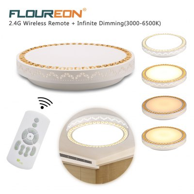 Floureon® 24W LED Ceiling Light, 1859LM, AC 180-264V, 3000-6500K Adjustable. 2.4G Wireless Remote Control. Switch Segment Function Control. Good choice for Living Room, Bedroom, Hotel, Restaurant etc.
