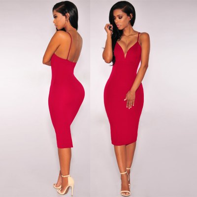 2016 summer autumn new style fashion sexy deep-V-neck  backless woman closed-fitting braces dressSleeveless Dresses<br>2016 summer autumn new style fashion sexy deep-V-neck  backless woman closed-fitting braces dress<br>