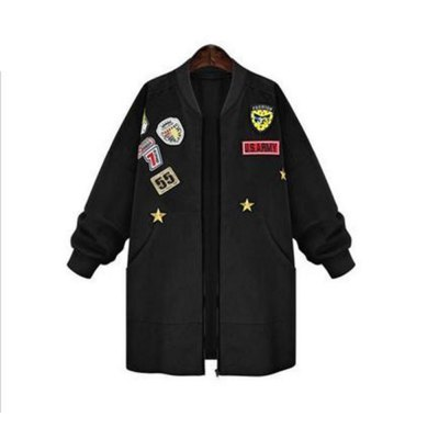 2016 New Arrival Autumn Womens   Bomber Jecket Plus Size 5XL 3D Print Zipper Fashion Patched Badges Long Baseball  Outwear CoatsJackets &amp; Coats<br>2016 New Arrival Autumn Womens   Bomber Jecket Plus Size 5XL 3D Print Zipper Fashion Patched Badges Long Baseball  Outwear Coats<br>