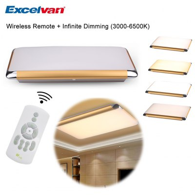 Excelvan® Double Color Dimming 36W 35inch LED Ceiling Light, 2879lm, AC 180-264V, 3000-6500K Adjustable. Hand Held Remote Control. Switch Segment Function Control. Perfect for Home Light. Rectangle Ce
