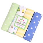 Pcs/Pack 100% cotton supersoft flannel receiving baby blanket baby bedsheet 76*76CM baby blankets yellow stripes and stars