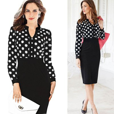 Kenancy Womens Spring Autumn  Polka Dot Elegant formal Patchwork Long Sleeve Dress Office Charming Women Ruched Bodycon Shift Pencil DressBodycon Dresses<br>Kenancy Womens Spring Autumn  Polka Dot Elegant formal Patchwork Long Sleeve Dress Office Charming Women Ruched Bodycon Shift Pencil Dress<br>