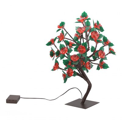 (STRING LIGHT BATTERY ROSE TREE GREENLEAVES RED) Finether 17.72 inches 45 cm High Battery Powered Rose Tree Table Lamp with 36 Warm White LEDs and Adjustable Branches for Indoor Christmas Party HolidaLED Strips<br>(STRING LIGHT BATTERY ROSE TREE GREENLEAVES RED) Finether 17.72 inches 45 cm High Battery Powered Rose Tree Table Lamp with 36 Warm White LEDs and Adjustable Branches for Indoor Christmas Party Holida<br>
