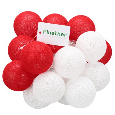 (STRING LIGHT BATTERY BALL COTTON RED&amp;WHITE) Finether 7.22 ft 2.2 m Battery Powered 20 LED Cotton Ball Globe String Lights with Warm White Glow for Indoor Christmas Party Holiday Wedding Festival CeleLED Strips<br>(STRING LIGHT BATTERY BALL COTTON RED&amp;WHITE) Finether 7.22 ft 2.2 m Battery Powered 20 LED Cotton Ball Globe String Lights with Warm White Glow for Indoor Christmas Party Holiday Wedding Festival Cele<br>