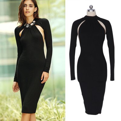 Women OL Elegant  Dress Neckline High Quality Sexy Hollow Out Women Party Sexy Bodycon Hips Dresses Backless Pencil Sheath Wholesale Plus SizeBodycon Dresses<br>Women OL Elegant  Dress Neckline High Quality Sexy Hollow Out Women Party Sexy Bodycon Hips Dresses Backless Pencil Sheath Wholesale Plus Size<br>