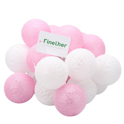 (STRING LIGHT BATTERY BALL COTTON PINK&amp;WHITE) Finether 7.22 ft 2.2 m Battery Powered 20 LED Cotton Ball Globe String Lights with Warm White Glow for Indoor Christmas Party Wedding Holiday Festival CelLED Strips<br>(STRING LIGHT BATTERY BALL COTTON PINK&amp;WHITE) Finether 7.22 ft 2.2 m Battery Powered 20 LED Cotton Ball Globe String Lights with Warm White Glow for Indoor Christmas Party Wedding Holiday Festival Cel<br>
