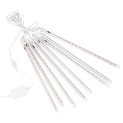 (EU STRING LIGHT TUBE WHITE) Finether 13.1 ft 8 Tube 144 LED Meteor Shower Rain Snowfall Plug-In String Lights for Holiday Christmas Halloween Party Indoor Outdoor Decoration Commercial Use, White GloLED Strips<br>(EU STRING LIGHT TUBE WHITE) Finether 13.1 ft 8 Tube 144 LED Meteor Shower Rain Snowfall Plug-In String Lights for Holiday Christmas Halloween Party Indoor Outdoor Decoration Commercial Use, White Glo<br>