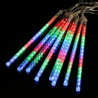 (EU STRING LIGHT TUBE MULTI) Finether 13.1 ft 8 Tube 144 LED Meteor Shower Rain Snowfall Plug-In String Lights for Holiday Christmas Halloween Party Indoor Outdoor Decoration Commercial Use, Multi-Col