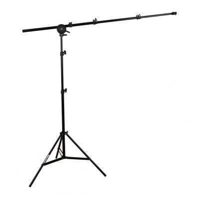 Excelvan 5.75ft Photo Studio Reflector Disc Holder Telescopic Boom Arm Single Head Grip Swivel Light Stand Kit