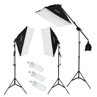 "Craphy 2000W Photo Studio LED Continuous Lighting Kit- 20""x25"" Auto Pop-Up Softbox+ 80"" Light Stand + 135w LED Lamp with EU Plug"