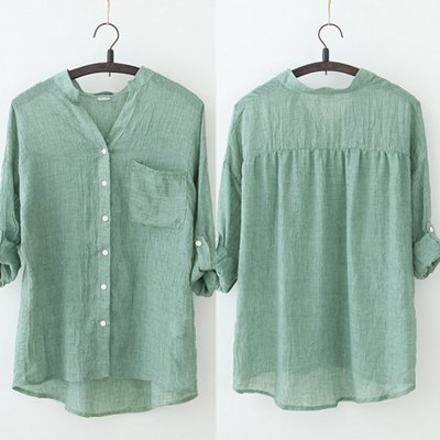 2016 new fresh style button fly long sleeve woman casual linen blouseBlouses<br>2016 new fresh style button fly long sleeve woman casual linen blouse<br>