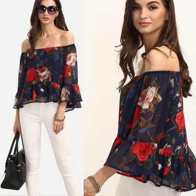 2016 new fashion sexy slash mandarin sleeve floral printing woman chiffon blouseBlouses<br>2016 new fashion sexy slash mandarin sleeve floral printing woman chiffon blouse<br>