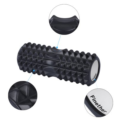 Finether Yoga Foam Roller EVA  Exercise Trigger Point GYM Pilates Texture Physio Massage Black ML-101102Yoga Accessories<br>Finether Yoga Foam Roller EVA  Exercise Trigger Point GYM Pilates Texture Physio Massage Black ML-101102<br>