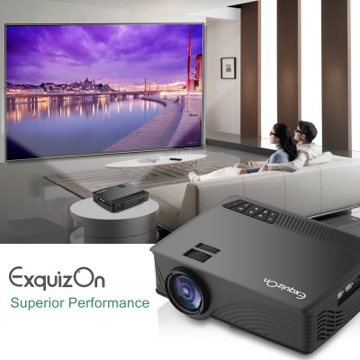 Exquizon LED GP12 Portable Projector 800*480P Support 1080P HDMI USB SD AV Connect Black US