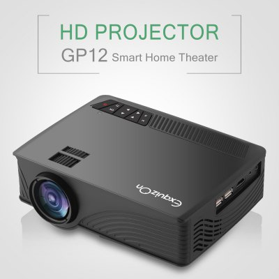 Exquizon LED GP12 Portable Projector 800*480P Support 1080P Exquizon LED GP12 Portable Projector 800*480P Support 1080P HDMI USB SD AV Connect  Connect    Black UK PLUG