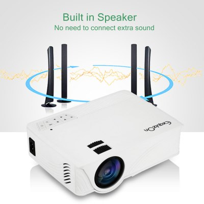 Exquizon LED GP12 Portable Projector 800*480P Support 1080P HDMI USB SD AV Connect White UK PLUG