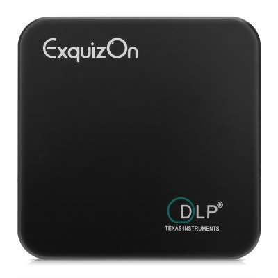 Exquizon E05 Pocket Airplay Miracast  for iOS & Android System for Outdoor Movie Backyard Cinema Theather DLP Home Cinema Projector 1G+8G Bluetooth USB*2 Built-in Battery   Black EU plug