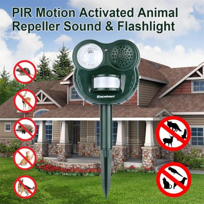 Excelvan GH - 503 PIR Motion Activated Sound Flashlight Pest Bird Repeller