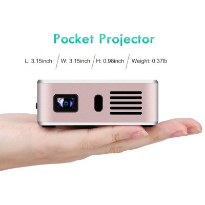 Exquizon E05 Pocket Airplay Miracast  for iOS & Android System for Outdoor Movie Backyard Cinema Theather DLP Home Cinema Projector 1G+8G Bluetooth USB*2 Built-in Battery  White+Golden EU plug