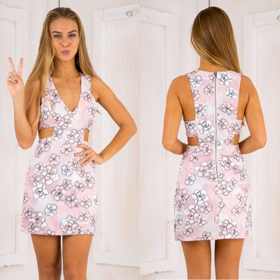 2016 new arrival summer style sexy printing dress woman V neck and waist hollow bodycon dress office dress