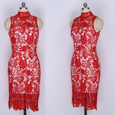 2016 New Arrival Womens Sexy Dress Ladies Lace High Collar Elegant Red High Waist Sleeveless Knew Length Backless Bodycon DressSleeveless Dresses<br>2016 New Arrival Womens Sexy Dress Ladies Lace High Collar Elegant Red High Waist Sleeveless Knew Length Backless Bodycon Dress<br>