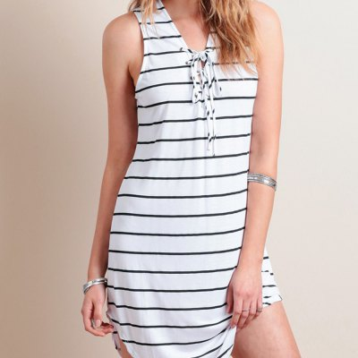 Spring autumn 2016 casual cross tie stripe woman dress irregular hem sleeveless A-line dressSleeveless Dresses<br>Spring autumn 2016 casual cross tie stripe woman dress irregular hem sleeveless A-line dress<br>