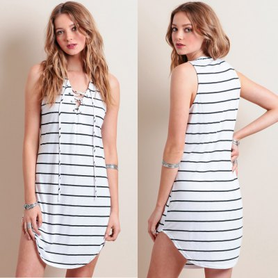 Spring autumn 2016 casual cross tie stripe woman dress irregular hem sleeveless A-line dress