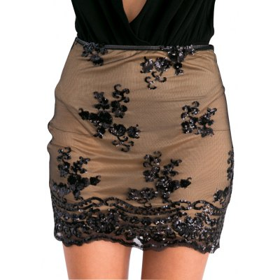 Woman lace skirt new fashion sexy style womens high-rise side zipper and sequins on mesh design gauzy lace mini skirt with high-stretch lining