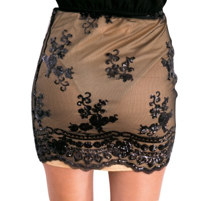 Woman lace skirt new fashion sexy style womens high-rise side zipper and sequins on mesh design gauzy lace mini skirt with high-stretch liningSkirts<br>Woman lace skirt new fashion sexy style womens high-rise side zipper and sequins on mesh design gauzy lace mini skirt with high-stretch lining<br>