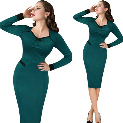 Vintage Dress Women Elegant Ruffles V-neck Long Sleeve Dress Casual Party Club Evening Bodycon Pencil Sheath DressBodycon Dresses<br>Vintage Dress Women Elegant Ruffles V-neck Long Sleeve Dress Casual Party Club Evening Bodycon Pencil Sheath Dress<br>