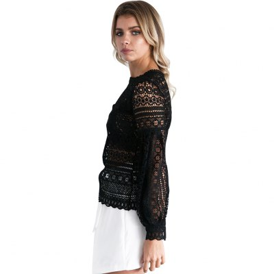 Woman tops smock new fashion casual sexy style womens crew neck keyhole at back long lantern sleeve and crochet-lace design smockBlouses<br>Woman tops smock new fashion casual sexy style womens crew neck keyhole at back long lantern sleeve and crochet-lace design smock<br>