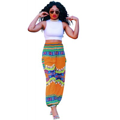 2016 new fashion casual style 3D Bohemia printing woman high waist loose pants