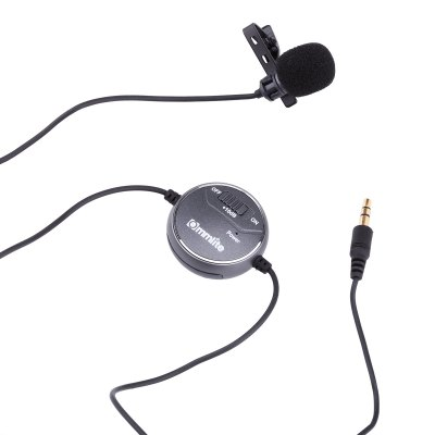 Commlite Comica CVM-V03CP +10dB Adjusting Lavalier Microphone Clip-on Omni-directional Condenser Mic with Wind Muff for Camera Camcorder Notebook Smartphone iPhone iPad Samsung