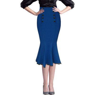 Elegant Skirt Women High Waist Party Work Mermaid Bodycon Pencil Midi Skirt