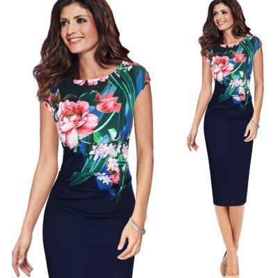 Elegant Vintage Dress Women Fashion Floral Flower Printed Retro Ruched Pinup Casual Party Sheath Special Occasion Bodycon DressBodycon Dresses<br>Elegant Vintage Dress Women Fashion Floral Flower Printed Retro Ruched Pinup Casual Party Sheath Special Occasion Bodycon Dress<br>