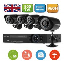 FLOUREON 1 X 8CH 960H Onvif Hybrid DVR + 4 X 900TVL Camera Security Kit UK